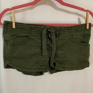 CUTE ROXY Army Green Corset Laced Cotton Shorts